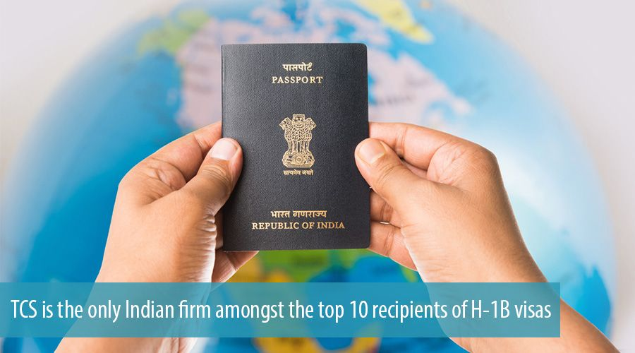 TCS is the only Indian firm amongst the top 10 recipients of H-1B visas