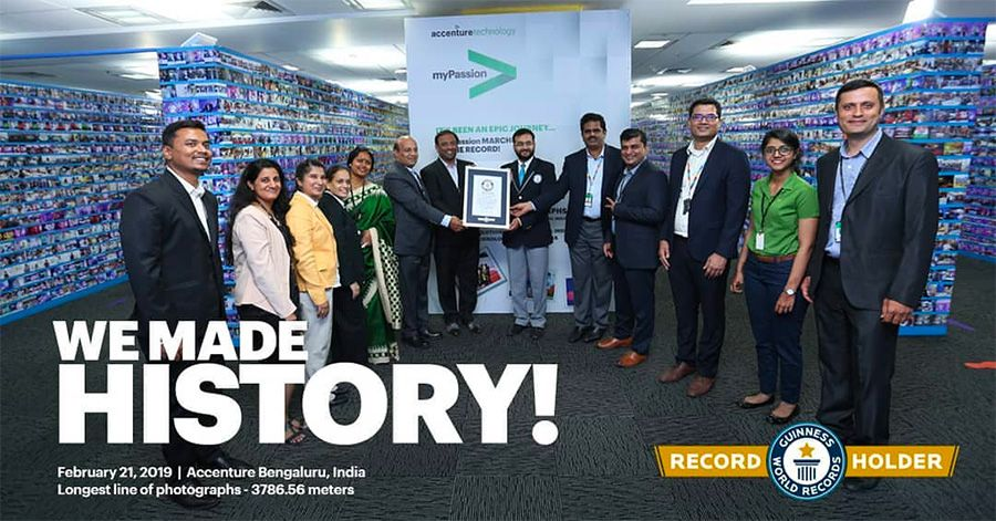 Accenture enters the Guinness World Records for Longest line of photographs