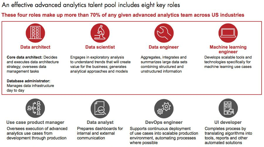 Eight central roles in an analytics team